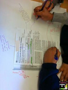 COLLABORATIVE CLOSE READING: Kids create text-based opinion posters. Basically, they take the article they are reading, highlight important phrases that illicit a response from them, then write their opinion of the evidence on the poster.