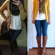 Mustard yellow cardi, white tee, blue jeans, tall dark brown riding boots & cheetah scarf.