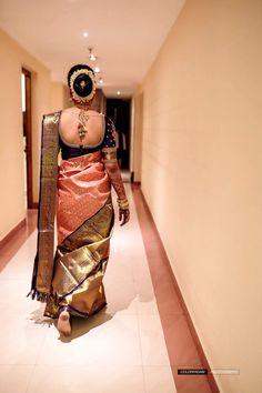 Bridal Sarees South Indian, Bridal Silk Saree, Indian Bridal Outfits, Indian Bridal Fashion, Pattu Sarees Wedding, Pakistani Outfits, Wedding Saree Blouse Designs, Half Saree Designs, Pattu Saree Blouse Designs