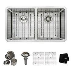 Kraus 33 inch Undermount 50/50 Double Bowl 16 gauge Stainless Steel Kitchen Sink Kraus http://www.amazon.com/dp/B0032C2NBC/ref=cm_sw_r_pi_dp_OuWkvb0PEQD5N