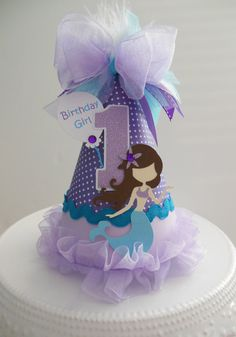 Lil' Mermaid Princess - Purple and Aqua Mermaid - Under the Sea Birthday Party Hat - Personalized