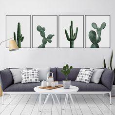 moderna acuarela verde cactus rhipsalis imagen paintin lienzo grande art print poster pared sin marco saln