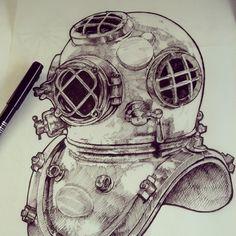 #PenAndInk deep sea diving helmet #illustration by Katy V. Meehan
