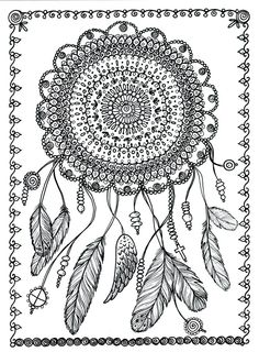 dream catcher coloring page Google Search Arrows Feathers