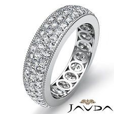 3 Row Pave Set Diamond Ring Platinum Classic Womens Wedding Eternity Band 2.1Ct