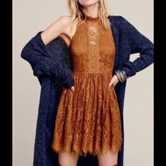 """FREE PEOPLE LACE DRESS GORGEOUS FREE PEOPLE LACE DRESS IN GOLDEN HONEY. FIT AND FLARE. HALTER CUT. BACK HAS DARK SILVER TONE BUTTONS WITH CUT OUTS. APPROX 17"""" across bust, 36"""" L. Hidden side zip. Free People Dresses"""