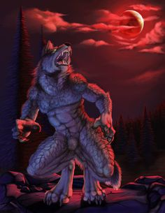 Such a fun commission!and totally appropriate for this time of year. Big angry werewolf for the win. I wanted to make an intense red moon and was only further propelled to do one after photogra. Furry Art, Fantasy Creatures, Mythical Creatures, Werewolf Art, Werewolf Games, Vampires And Werewolves, Anthro Furry, Amazing Drawings, Apocalypse