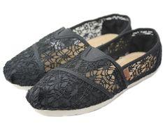 Black 2012 Toms Hollow Lace Women Shoes