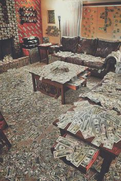 Funny Pictures ~Room covered in money, drug money