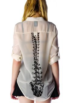 Iron Fist Spineless Blouse isn't just any other oversized chiffon shirt, this one features a rad skeleton bone printed down the middle of your back