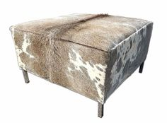 New Grey Cowhide Ottoman Grey and White Cow Hide Furniture Cube with metal feet Cowhide Furniture, Cowhide Ottoman, Leather Furniture, Chair And Ottoman, Cowhide Leather, Living Room With Fireplace, Home Living Room, Living Room Furniture, Living Room Decor