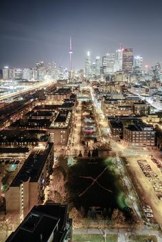 Toronto, Ontario at night as seen from the Distillery District