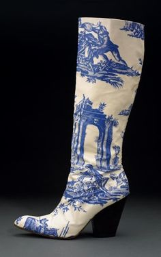 """Vivienne Westwood Toile Printed Boot 1996. """"Inspired by 16th Century Dutch Delft pottery"""", thebowesmuseum."""