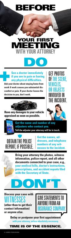 New Infographic- What to do before your first meeting with a lawyer   http://jacksonandwilson.com/infographic-what-to-do-before-your-first-meeting-with-a-lawyer/  #infographic #law #lawyers #clients