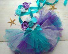 Little Mermaid Outfit, Mermaid Birthday Outfit, 1st Birthday Tutu, Little Mermaid Birthday, The Little Mermaid, Purple Birthday, Baby Mermaid, Toddler Mermaid Costumes, Diy Tutu