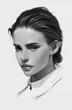 """New Girl"" by Peter Xiao Digital Portrait, Portrait Art, Digital Art, Illustration Sketches, Digital Illustration, Art Sketches, Character Portraits, Character Art, Girl Face Drawing"