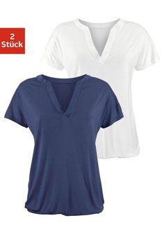 LASCANA Shirts (2 Stück) mit tiefem V-Ausschnitt ab 24,99€. Edles Shirt im 2er-Pack, Tiefer V-Ausschnitt, Gummizug am Saum für einen lockeren Fall bei OTTO