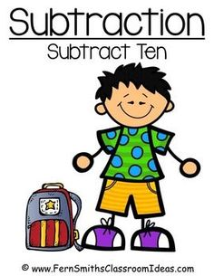 Quick and Easy to Prep - Subtraction Center Game - Subtract From Ten with a Cute, Year Round Kids at School Theme #TPT $paid