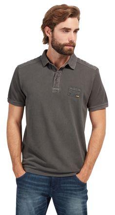 Polo-Shirt mit abgesetzten Partien für Männer (zweifarbig, kurzärmlig mit Polo-Kragen und kurzer Knopfleiste) - TOM TAILOR