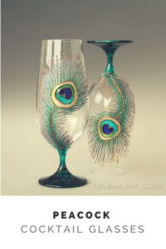 Set of 2 Peacock Glasses, Beer Glasses, Beer Wedding, Cocktail Glasses, #peacock #decor #ad #wedding