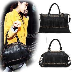 Fashion Lady Women Casual Rivets Tassel Handbag Punk Purse Shoulder Tote Bag