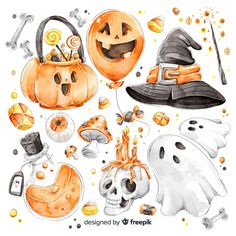 Halloween elements Vectors, Photos and PSD files Moldes Halloween, Halloween Clipart, Halloween Crafts, Halloween Decorations, Cute Halloween Drawings, Halloween Painting, Halloween Stickers, Halloween Halloween, Fall Wallpaper