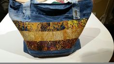 Lori's Denim and fused quilted fabric travel bag!