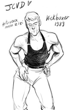 JCVD in kickboxer 1989, thanks to whatsthemashup, I had a big laugh !  art by camille edme https://camilleedme.wordpress.com/