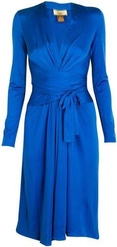 Issa Sapphire Silk-Jersey Wrap Dress