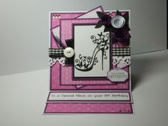 (Ref:B88) 15cm x 15cm easel card using Tattered Lace shoe die, LOTV stamp and Nitwit papers.
