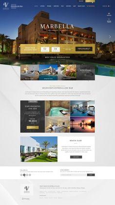 Dribbble - home_marbella_hotel.jpg by Xavi Puig Hotel Website Design, Real Estate Website Design, Website Design Layout, Web Layout, Brochure Layout, Website Designs, Website Ideas, Web Hotel, Hotel Ads