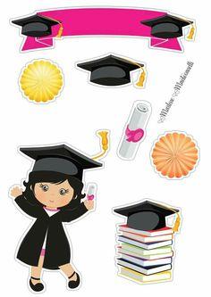 Disney Graduation Cap, Graduation Images, Graduation Cards Handmade, Graduation Stickers, Graduation Theme, 30th Birthday Cake Topper, Graduation Cake Toppers, Happy Birthday Cakes, Birthday Party Decorations Diy