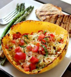 Baked Margarita Spaghetti Squash - Not only is it healthy, but its gluten free as well!  *To Save this recipe, simply Share to your timeline*  Ingredients: 1 large spaghetti squash 2 tbsp. olive oil 1 large Roma tomato, finely chopped 2 tbsp. finely chopped fresh basil 1/4 cup shredded mozzarella cheese 1 tsp. each salt & pepper 1 tsp. garlic powder
