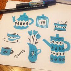 I may be entering my infamous blue phase... #blue #sketchbook #doodle #tea #coffee #retro #illustration #vintage #midcentury