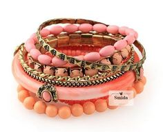 Bohemian Romatic Orange Fashion Beads Bracelet Set Bangle 9pcs Multilayer JW111 | eBay