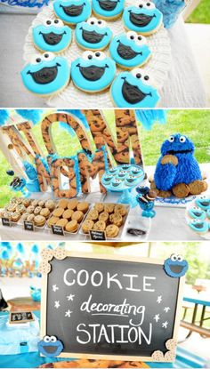 Cookie Monster Themed Birthday Party- Probably wouldn't look like this if I tried to make it!