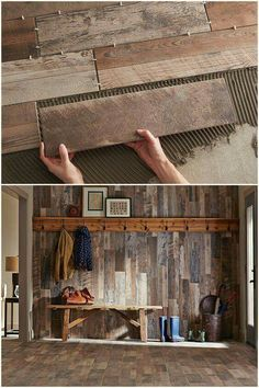 """Rustikale Holzwand … Nun, so wird """"Holzverkleidung"""" gemacht Rustic wooden wall … Well, this is how """"wood paneling"""" is made. Wood Grain Tile, Tile Wood, Brick Tiles, My Dream Home, Home Projects, Pallet Projects, Rustic Decor, Rustic Wood, Rustic Tiles"""