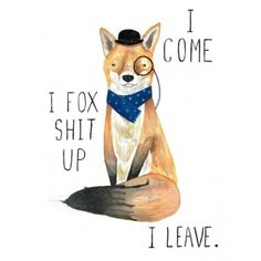 """Fox Shit Up"" greeting card from Postmark Online."
