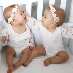 Details about US Princess Newborn Baby Girl Lace Floral Romper Jumpsuit Sister Outfits Sunsuit - Fishfam - Twins Girls, Cute Baby Twins, Twin Baby Girls, Twin Babies, Baby Girl Newborn, Baby Kids, Twin Baby Clothes, Twin Toddlers, Cool Baby
