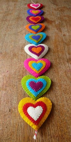 Colorful felt hearts garland 9 hearts made to by HetBovenhuis