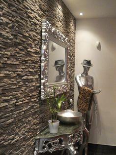 parete in pietra e veletta d\'arredo in cartongesso | Idee casa ...