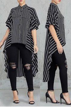 Casual Asymmetrical Striped Black Blouse in 2020 Batik Fashion, Hijab Fashion, Fashion Dresses, Fashion Fashion, Hijab Stile, Night Out Outfit, Stripes Fashion, Mode Hijab, Blouses For Women