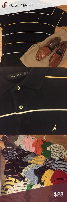Nautica stripped collared button short sleeve EUC so my bf buys shirts only wears 1x! All are available excellent condition almost new with tags NWT! 👀 will do great bundles I have multiple listings ! Men's polos have button up down dress or casual short half sleeve shirt w collar . All accessories listed! Some striped tiny or Large w many colors w red green blue orange yellow purple pink brown. Tags # Tommy Hilfiger # polo Ralph Lauren Eddie Bauer performance classic true deck shirt…