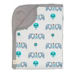 Fresk Bio Babydecke Elefanten in Blau