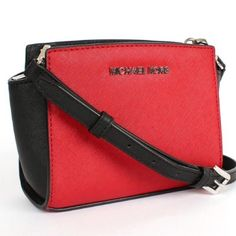 """Michael Kors Selma Mini Messenger Crossbody Brand New with tags. Scarlet and black color block. No trades. Michael Kors Selma Mini Crossbody Made of Saffiano Leather. Approx. 6 1/2"""" x 5"""" x 2 1/2"""". Approx. 21"""" strap dop for shoulder and crossbody wear. Zip Closure. Interior 3 card slots. Fabric lining.Silver Tone Hardware. Michael Kors Bags Crossbody Bags"""