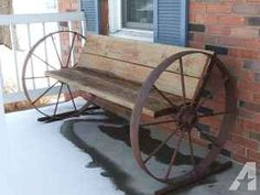 Wrought Iron Patio Benches Wagon Wheel Benches On Sale Wagon Wheel Bench, Wagon Wheel Decor, Wagon Wheels, Barn Wood Projects, Outdoor Projects, Rustic Furniture, Garden Furniture, Industrial Furniture, Vintage Industrial