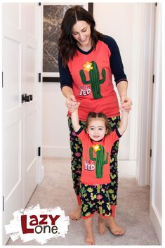 Don't get prickly in the wrong sleepwear! With our adorable cactus PJs for the whole family, stick together in style and comfort sure to delight. There are days where getting out of bed feels downright impossible. We get it and we would never judge you for being stuck in bed with these cute matching cactus pajamas. Casual Outfits For Moms, Mommy And Me Outfits, Kids Pajamas, Pjs, Matching Pajamas, Funny Design, Bedding Collections, Capsule Wardrobe