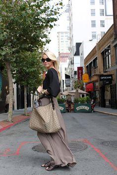 Top: Rory Beca. Skirt: F21. Shoes: Sam Edleman. Belt: Robert Rodriguez. Purse: Gucci. Sunglasses: Fendi. Jewelry: David Yurman, Michael Kors, F21, Gap, BR, Thrift.
