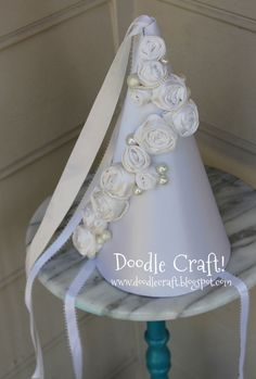 princess crown hat ribbons white wedding.jpg    can't wait to make this for Emma!