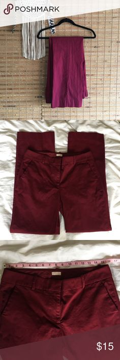 """J. Crew •Merlot Trousers• Great wine colored pants! Wide/ straight leg pants. Excellent like new condition! 29"""" inseam. Bundle and save, or make an offer!!! J. Crew Pants"""